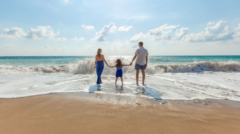 Young Family Grounding at the Beach
